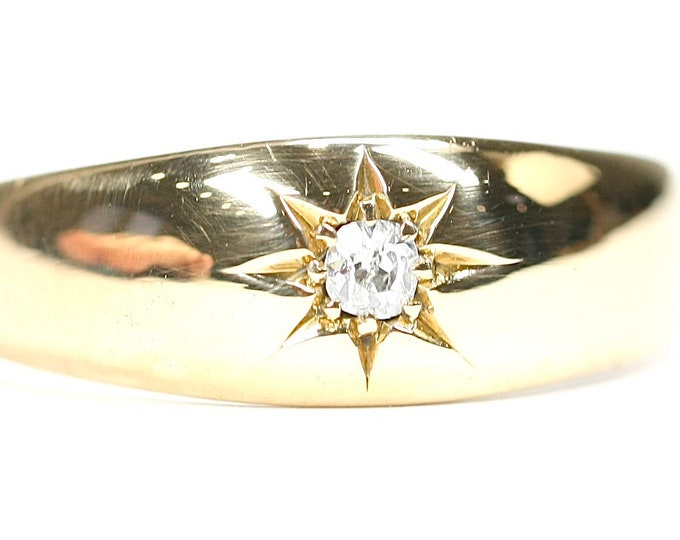 Stunning 110 year old Edwardian 18ct gold Diamond gypsy / pinky ring - hallmarked Birmingham 1910 - size T or US 9.5