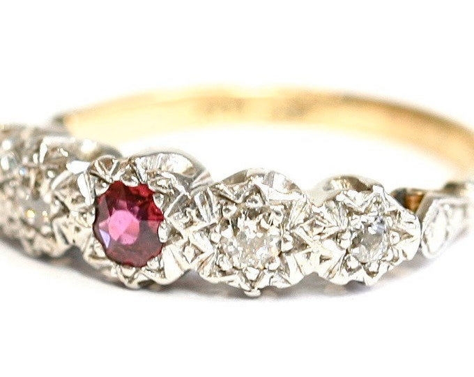 Fabulous antique 18ct gold & platinum Ruby and Diamond engagement / wedding / eternity ring - Size K or US 5 1/4