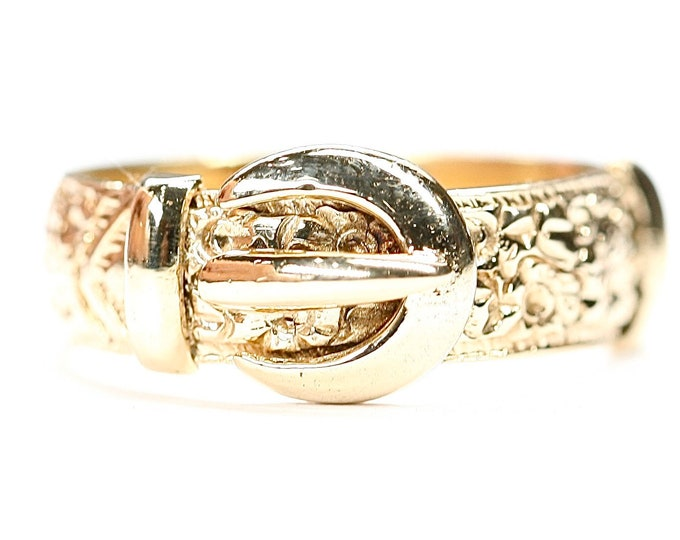 Superbly detailed vintage 9ct yellow gold Buckle ring - hallmarked Birmingham 1976 - size N or US 6 1/2