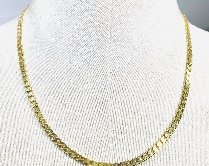 Stunning vintage 9ct yellow gold 16 or 19 inch curb link necklace - hallmarked Birmingham 1993 - 20gms