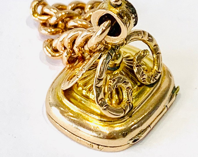 Fabulous rare Edwardian 9ct gold fob locket and part Albert chain - hallmarked London 1907