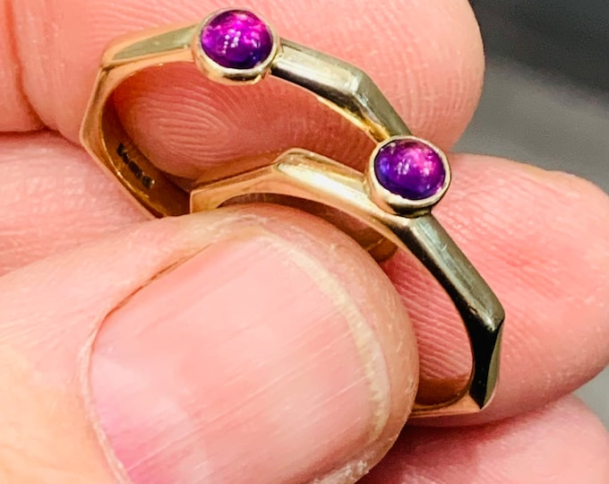 Fabulous vintage 9ct yellow gold 8 sided Amethyst stacking rings - hallmarked London 1988 - size O or US 7