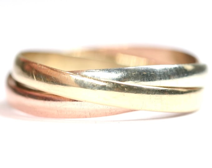 Vintage 9ct three colour gold Russian wedding ring - hallmarked London 1992 - size S or US 9
