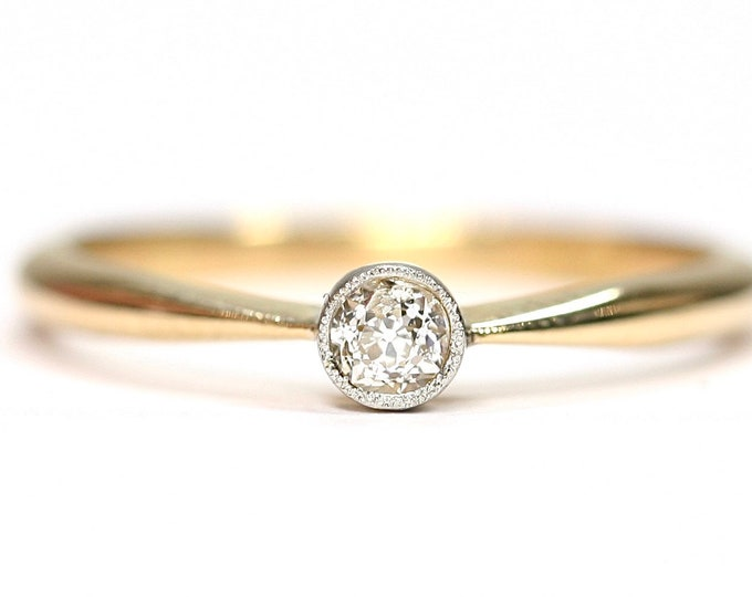 Stunning antique 18ct yellow gold Diamond ring / engagement ring - size N or US 6 1/2