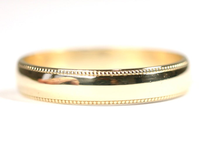 Vintage 9ct yellow gold Men's milled edged wedding ring- hallmarked London 2000 - size X or US 11 1/2