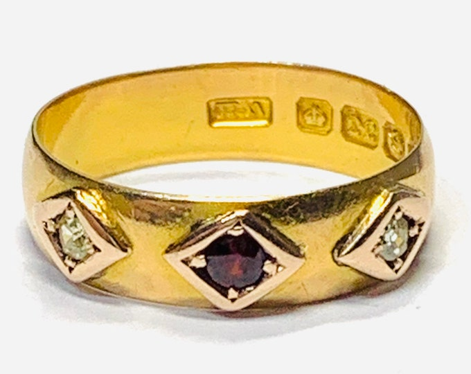 Stunning antique 114 year old Edwardian 22ct gold band / wedding ring with Garnet & Diamonds - Birmingham 1905 - size M or US 6