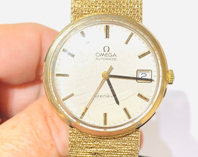 REDUCED ***Superb vintage 9ct gold Omega automatic wristwatch with box and papers - solid gold 8 inch strap