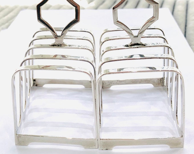 Superb matched pair of antique Sterling Silver toast racks - hallmarked 1937 and 1938 - Walker & Hall