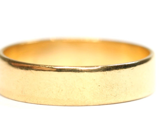 Superb vintage 22ct yellow gold wedding ring - hallmarked Birmingham 1964 - size O or US 7