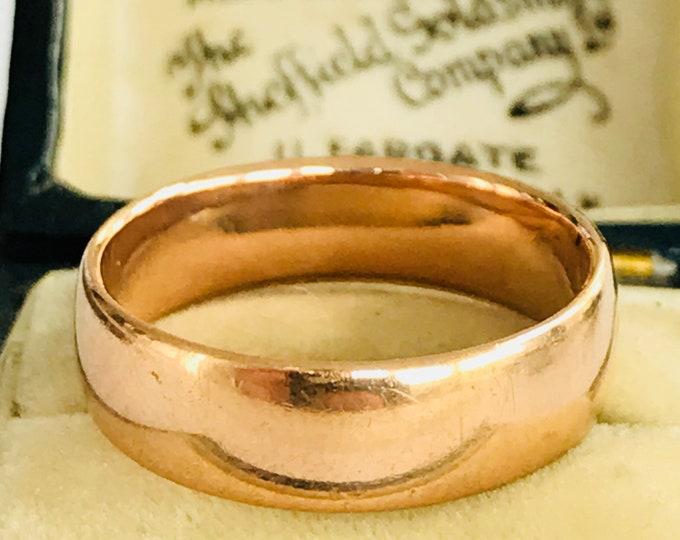 Stunning antique 22ct rose gold wedding ring - size O / 7