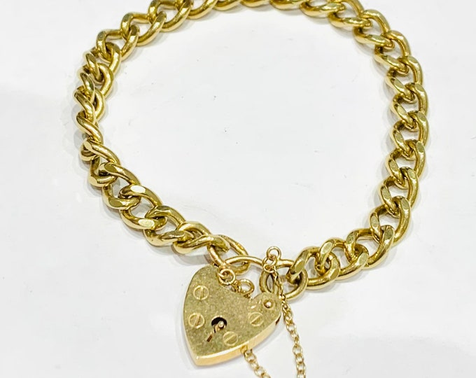 Superb heavy vintage 9ct yellow gold curb link padlock bracelet - hallmarked London 1978 - 20gms