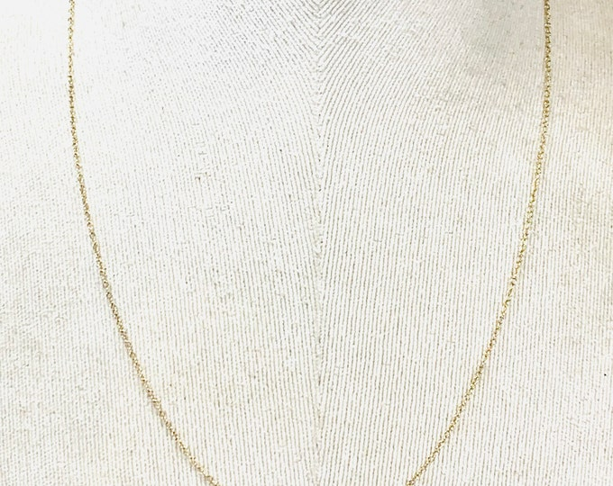 Vintage 9ct yellow gold 21 inch fine link chain