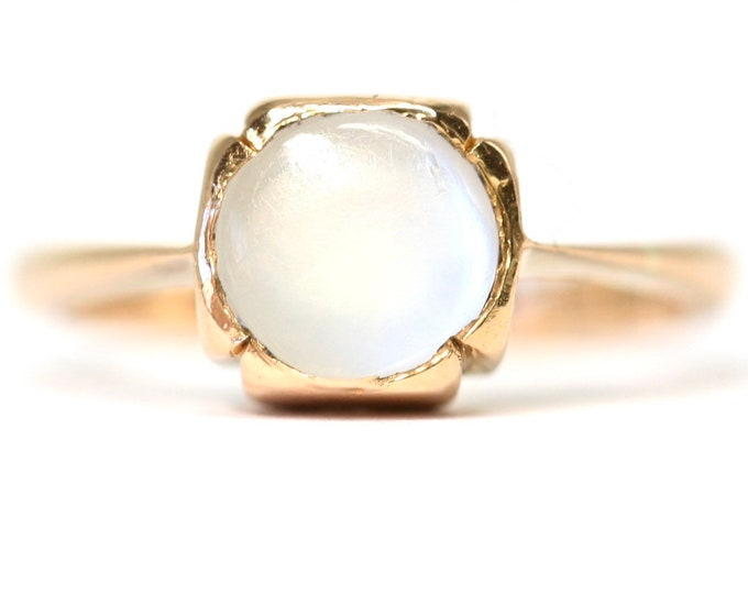 Superb vintage 22ct gold Moonstone ring - size i or US 4 1/4