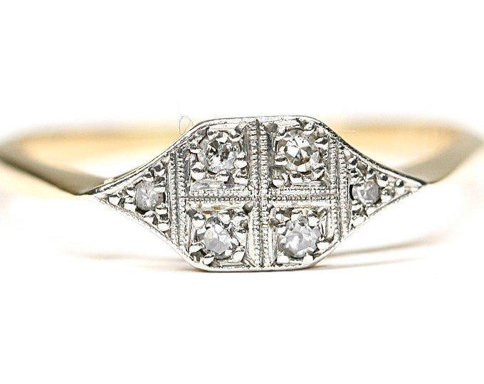 Stunning antique Art Deco 18ct gold and  Platinum Diamond Engagement ring - circa 1910 - size S or US 9 1/8