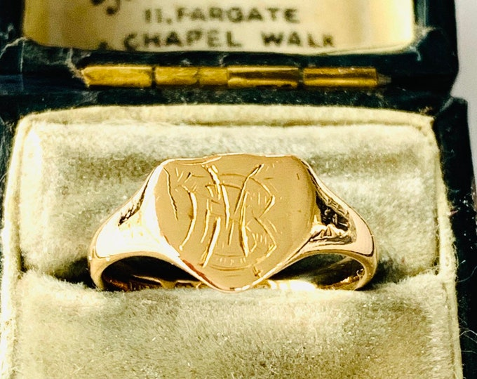 Superb antique 18ct yellow gold shield signet / pinky ring - hallmarked Birmingham 1914 - size L - 5 1/2