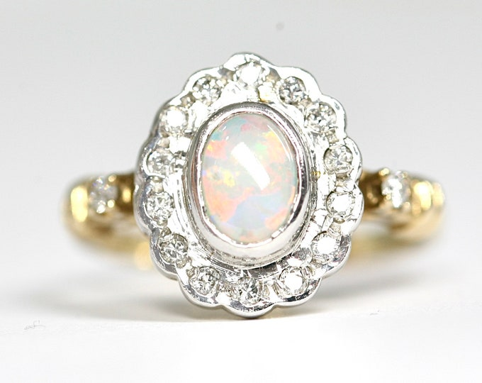 A superb vintage 9ct white and yellow gold Opal & Diamond cluster ring - London 1989 - size O 1/2 or US 7 1/4