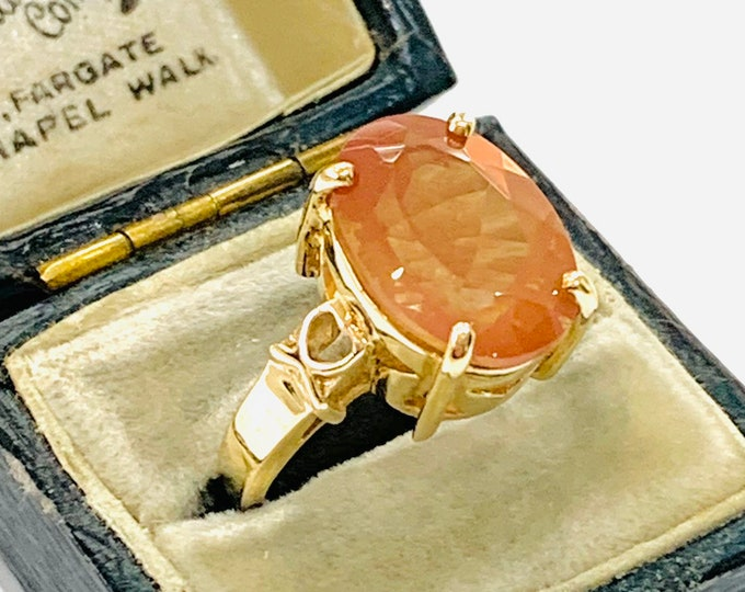 Stunning vintage 9ct yellow gold Sunstone ring - fully hallmarked - size N - 6.5