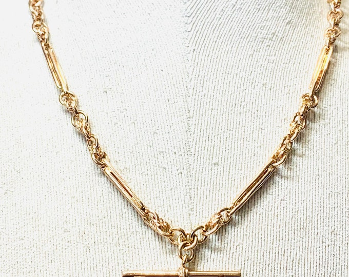 Stunning heavy vintage 9ct rose gold 19 inch Albert chain necklace - fully hallmarked - 41gms
