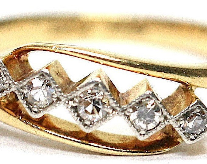 Fabulous antique Art Deco 18ct gold and Platinum Diamond engagement ring / original box - size L or US 5.5