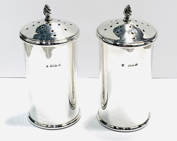 Superb pair of antique sterling silver Pepperettes - hallmarked Birmingham 1922 - Charles S Green & Co