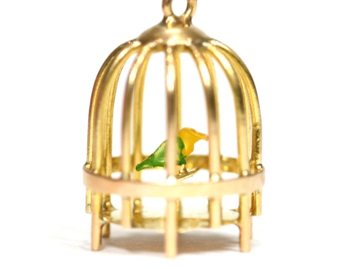 Superb rare vintage 18ct yellow gold birdcage charm with enamelled ding bird