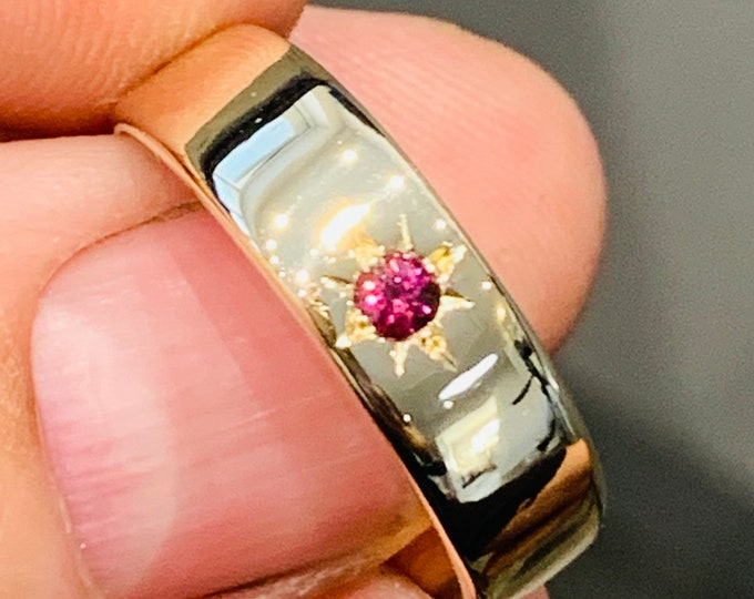 Superb heavy vintage 9ct yellow gold Ruby signet ring - hallmarked London 1967 - size Y or US 12 - 6.2gms