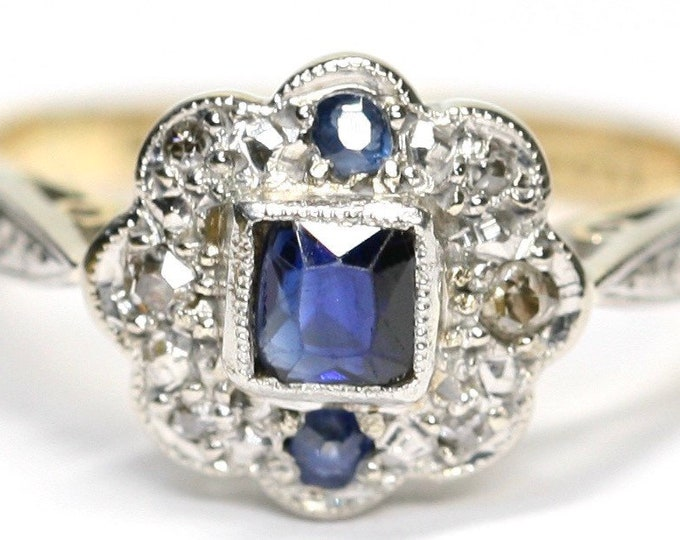 Beautiful antique Art Deco 18ct gold & Platinum ring with Ceylon Blue Sapphires and mine cut Diamonds - size M or US 6