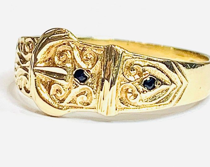 Superb vintage 9ct yellow gold Buckle ring with Sapphires - hallmarked Birmingham 1989 - size U or US 10