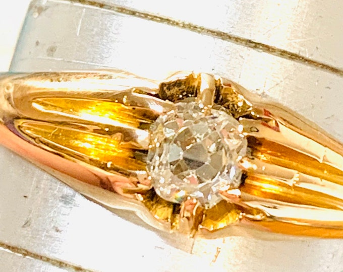 Stunning antique Victorian 18ct gold 0.30 Old Mine cut Diamond Gypsy ring / pinky ring - fully hallmarked - size S or 9