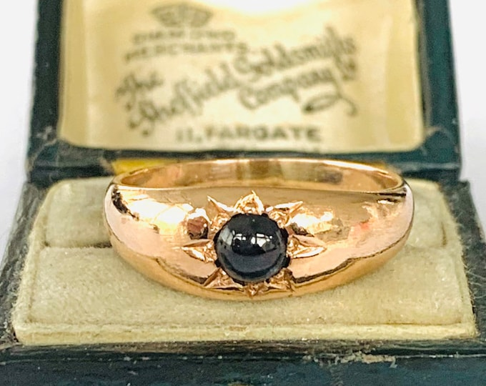 Stunning antique Edwardian 9ct rose gold Sapphire gypsy / pinky ring - size R - 8 1/2