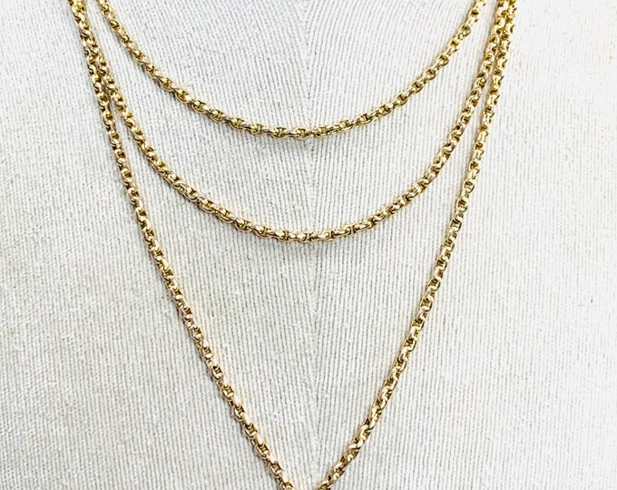 Superb antique Victorian 9ct gold 56 inch faceted link Muff or Guard chain - 30.5gms