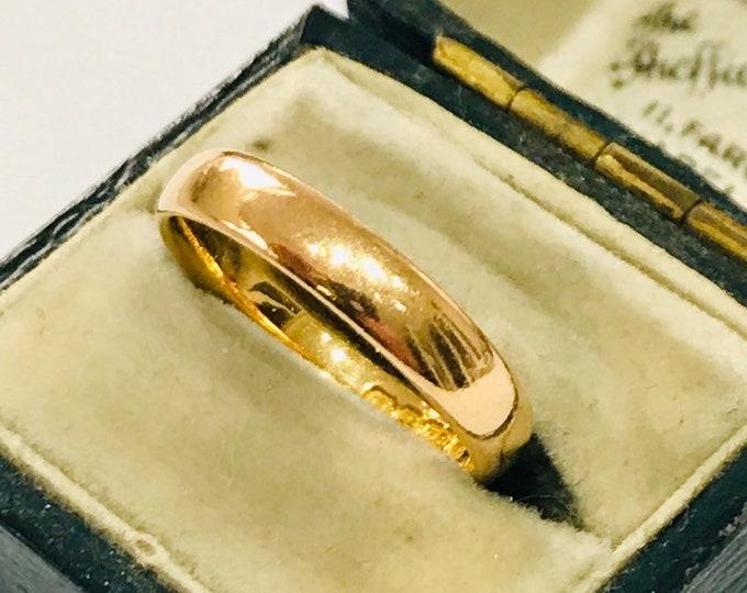 Stunning vintage 22ct yellow gold wedding ring - Birmingham 1955 - size P / 7.5