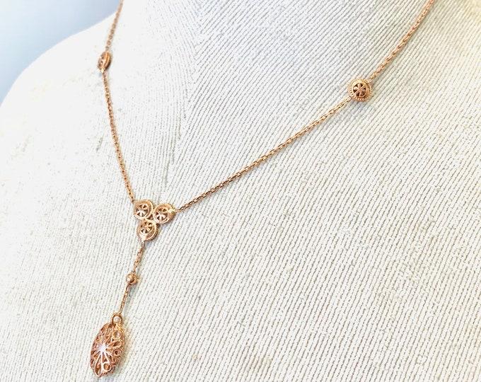 Superb vintage 9ct rose gold 16 inch necklace - fully hallmarked