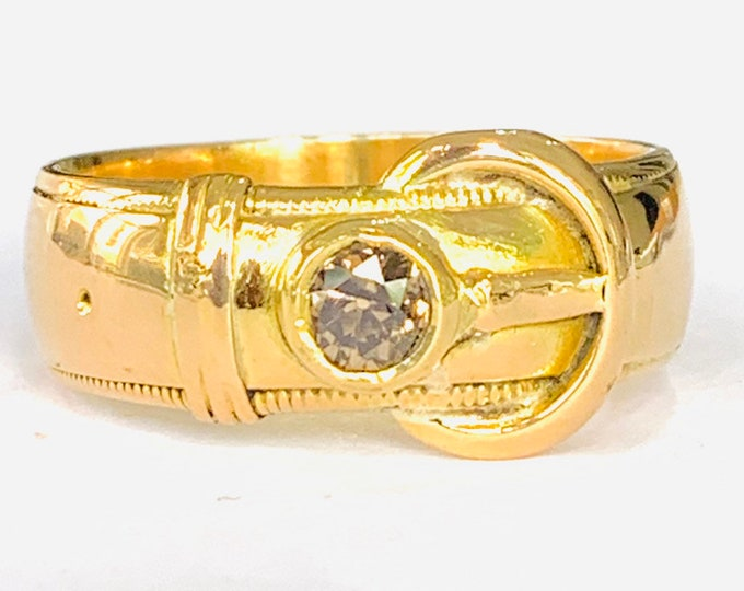 Stunning heavy antique Edwardian 18ct gold Buckle ring with a 0.33 Champagne diamond - London 1910 - size X or 11.5 - 12.6gms