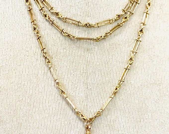 Superb Victorian 9ct gold 56 inch fancy link muff chain with dog clip - fully hallmarked- 44gms