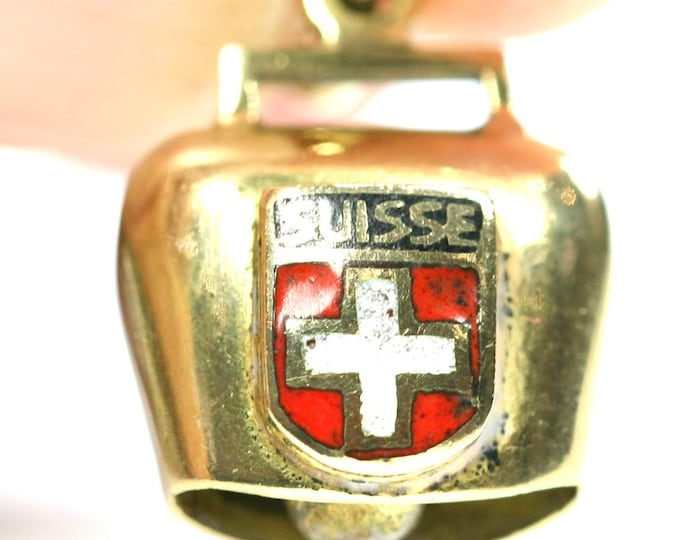Vintage 18ct gold enamelled Swiss cow bell charm - stamped 750