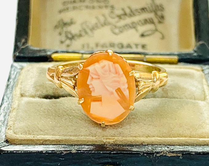 Vintage 9ct yellow gold Cameo ring - hallmarked Birmingham 1979 - size L or 5 1/2