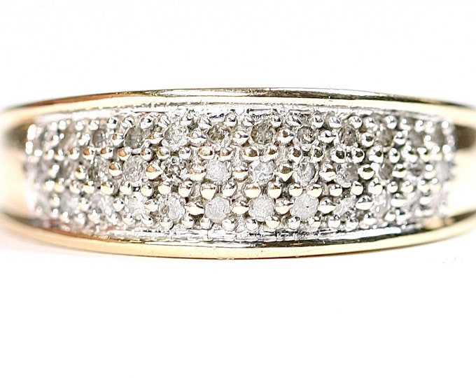 Sparkling vintage 9ct yellow gold 0.25 Diamond ring - fully hallmarked - size O 1/2 or US 7 1/4