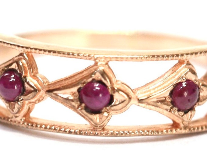 Stunning unusual vintage 9ct rose gold Ruby cabochon ring - fully hallmarked - size N 1/2 - US 6 3/4