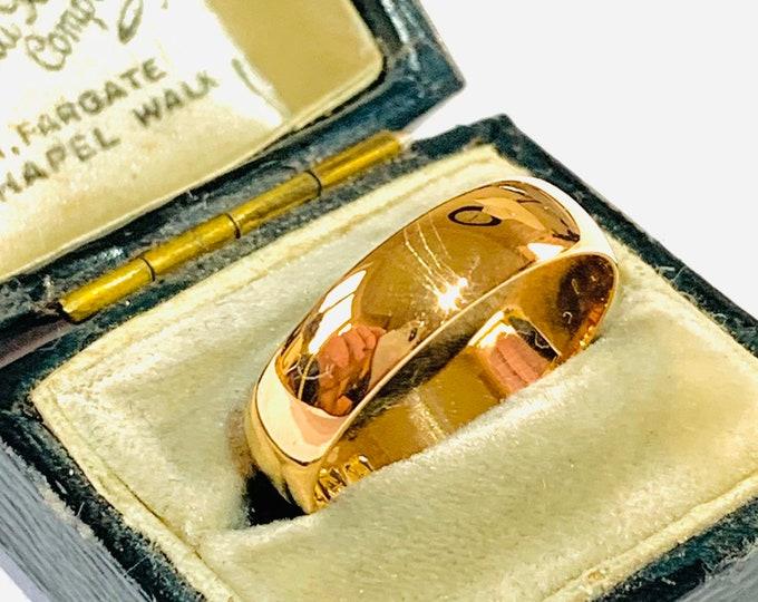 Stunning Edwardian 110 year old 22ct gold wedding ring - Birmingham 1909 - size P - 7 1/2