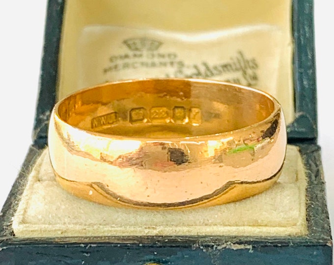 Huge & heavy vintage 22ct gold wedding ring ring - London 1961 - size Z + 3 - US 14
