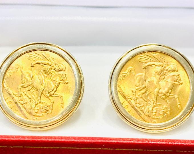 Superb antique 22ct gold King George V Cufflinks - dated 1915