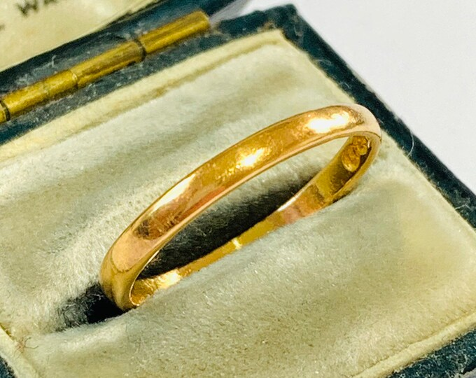 Vintage 22ct gold wedding ring - Birmingham 1953 - size O - 7