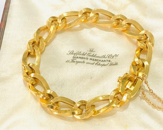Superb vintage 18ct gold 7 1/2 inch bracelet - fully hallmarked