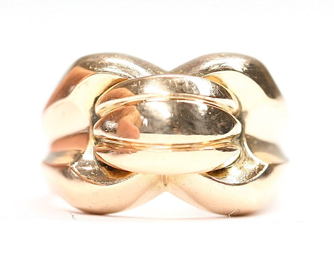 Superb heavy vintage French 18ct gold statement ring- hallmarked- size L 1/2 or US 5 3/4