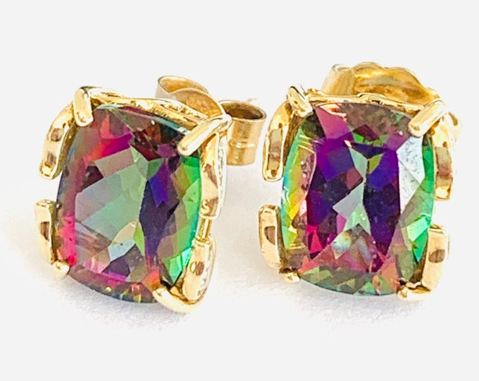 Stunning vintage 9ct yellow gold Mystic Topaz and Diamond stud earrings - fully hallmarked
