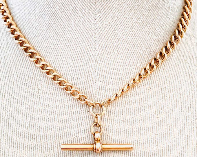 Stunning antique 100 year old 9ct rose gold 16 inch graduated Albert chain necklace with t-bar - Birmingham 1919