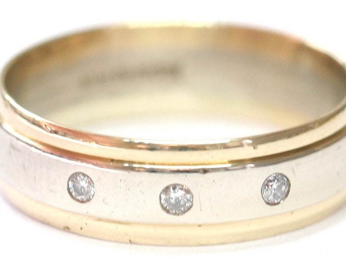 Stunning vintage 9ct white and yellow gold diamond ring / wedding band - fully hallmarked - size S or US 9