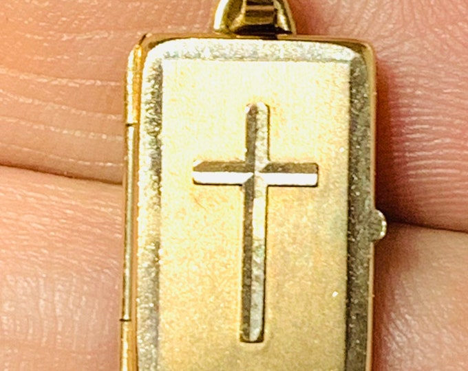 Vintage 9ct yellow gold double picture locket - hallmarked London 1975
