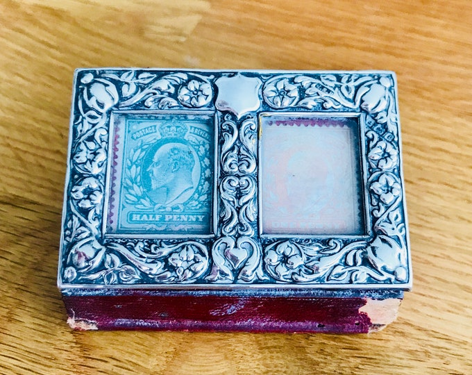 Superb rare antique Edwardian sterling silver and leather stamp case - hallmarked Birmingham 1904